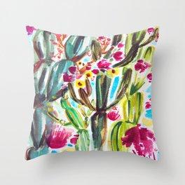 Café Cactus Throw Pillow