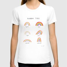 rainbow types White LARGE Womens Fitted Tee