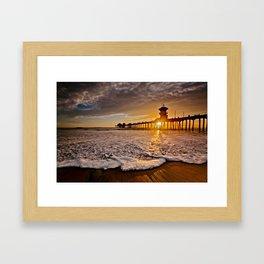 Surf City Sunsets -  Sunset At The Huntington Beach Pier 3/4/16 Framed Art Print