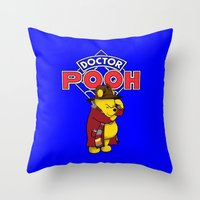 pooh Throw Pillows featuring Doctor Pooh by cû3ik designs