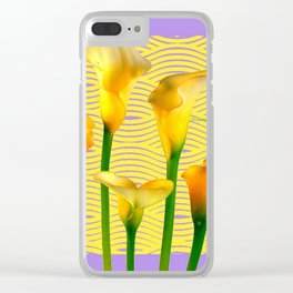 Lilac & Yellow  Calla Lilies Water Pattern Art Clear iPhone Case