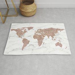 Rose Gold Glitter World Map on Marble Rug