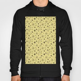 Vintage Inspired Canary Yellow Floral Pattern Hoody