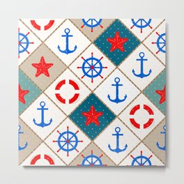 Nautical pattern . 1 Metal Print