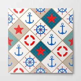 Nautical pattern . 1 Metal Print