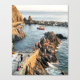 Cinque Terre rock swim Canvas Print