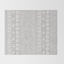Funky African Mud Cloth in Grey Throw Blanket
