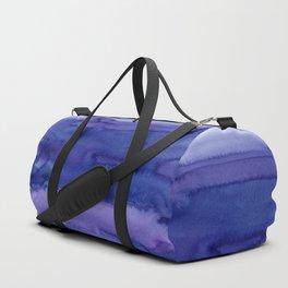 Blue Violet Watercolor Horizontal Stripes Abstract Duffle Bag