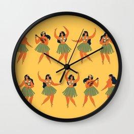 Hula Dance Eclipse - Hawaiian Dancers on Yellow Wall Clock
