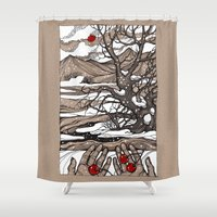 cherry Shower Curtains featuring Cherry by Iris V.