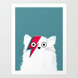 Cat Hero White Art Print