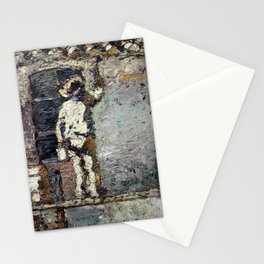 Adolphe Monticelli - A Painter at Work on a House  Wall Stationery Cards