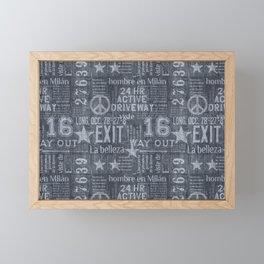 Denim Jeans Style Typography Design Cool Grey Framed Mini Art Print