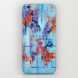 Blue Line Abstract Modern Acrylic Painting, Blue Home Decor iPhone Skin