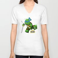 leo V-neck T-shirts featuring Leo by le.duc