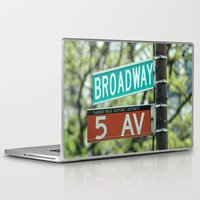 broadway Laptop & iPad Skins featuring Sign Broadway 5 Ave by Premium
