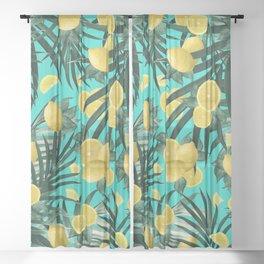 Summer Lemon Twist Jungle #1 #tropical #decor #art #society6 Sheer Curtain