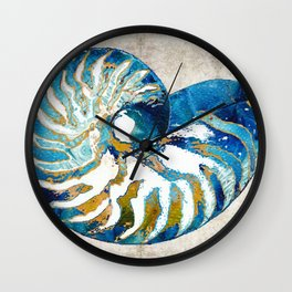 Beachy Art - Nautilus Shell Bleu - Sharon Cummings Wall Clock