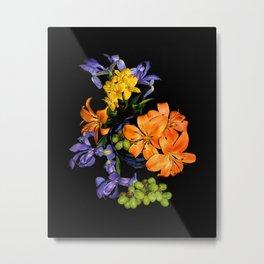Lilies, Irises, Grapes Metal Print