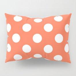 Outrageous Orange - pink - White Polka Dots - Pois Pattern Pillow Sham