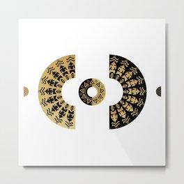 Bohemian black and gold mandala Metal Print