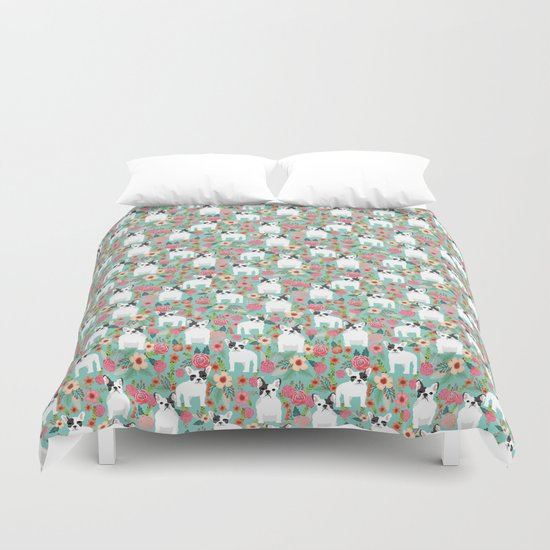 French Bulldog florals cute spring summer dog gifts bright happy frenchie puppy dog portraits  Duvet Cover