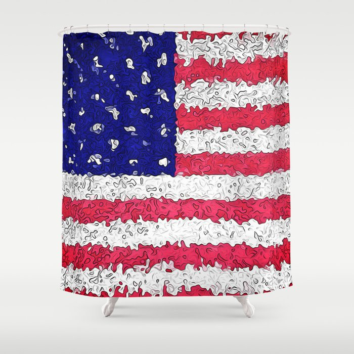 American Flag Abstract Shower Curtain