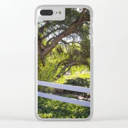 A Tree Next To A White Fence Clear iPhone Case