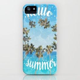 hello summer palm trees design 2 iPhone Case