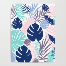 Tropical Leaves Blue Purple Poster