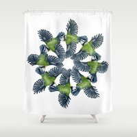 tits Shower Curtains featuring Circling Blue Tits by BridJess