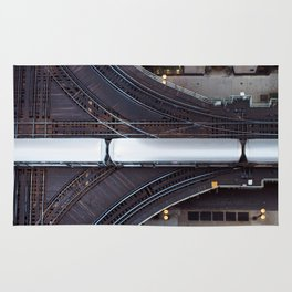 Chicago El Train Going Downtown Rug