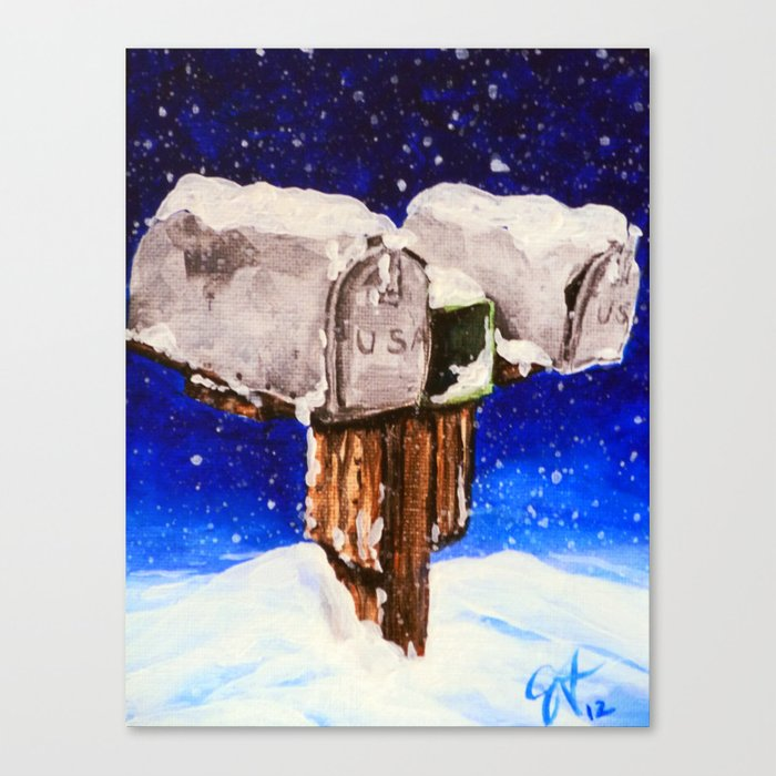 No Mail Today Mailboxes Mailbox Winter Snowing Snow Night Rural Country Blue Snowy Christmas Card Canvas Print By Jackiecarpenterart Society6