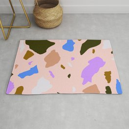 Pink, blue, browns Terrazo  Rug