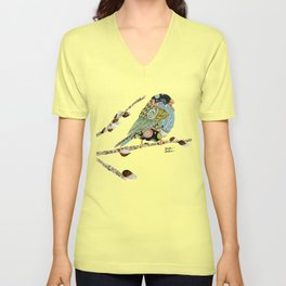 Cafe Swirly Bird 3 Unisex V-Neck