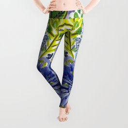 Purple and Acid Green Garden Floral Leggings