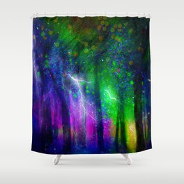 Lightning Fire In Dark Forest Shower Curtain