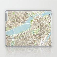 Boston Sepia Watercolor Map Laptop & iPad Skin