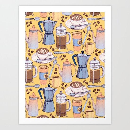 Coffee Love on Yellow Art Print