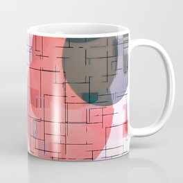 geometric square and circle pattern abstract in red pink blue Coffee Mug