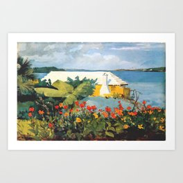 Flower Garden And Bungalow Bermuda 1889 By WinslowHomer   Reproduction Art Print