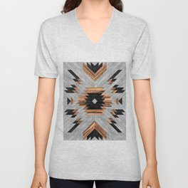 Urban Tribal Pattern No.6 - Aztec - Concrete and Wood Unisex V-Neck