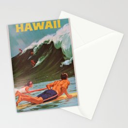 1964 Vintage Hawaii Surfing Poster by Chas Allen Stationery Cards