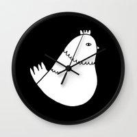 chicken Wall Clocks featuring Chicken by Elaine Chen Art