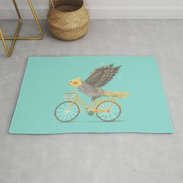 Cockatiel on a Bicycle Rug