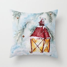 Snowy Red Lantern in the Pines Watercolor Throw Pillow