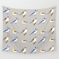 gray pattern Wall Tapestries featuring Bird Pattern Gray by Tammy Kushnir