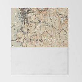 Vintage Burlington Vermont Topographic Map (1904) Throw Blanket