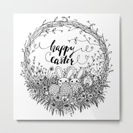 Happy Easter Wreath Metal Print