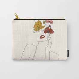 Colorful Thoughts Minimal Line Art Woman with Flowers Carry-All Pouch